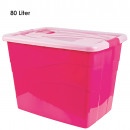 Box with lid and wheels, 80 L, Pink