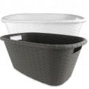 groothandel Wasgoed: Wasmand  gevlochten, ca. 35 L, 25 x 60 x 40 cm,