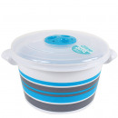 Microwave bowl with strips, 1.5 liter, Blue
