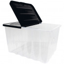 Box with hinged lid, 10L, Transp. / Black