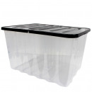 Box with hinged lid, 28L, Transp. / Black