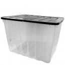 Box with hinged lid, 110L, Transp. / Black