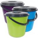 groothandel Reinigingsproducten: Emmer met plastic  handvat en deksel, 10 liter,
