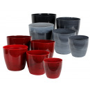 ASTER plant pot, set of 5, Round, marbled,