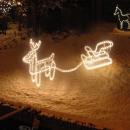 Reindeer with sledge, tube lighting, 9 m,