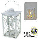 groothandel Windlichten & lantaarns: Lantaarn, Wit met  7 LED's, warm wit, ster / De
