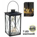 groothandel Windlichten & lantaarns: Lantaarn, Zwart  met 7 LED's, warm wit, ster /