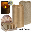 groothandel Kaarsen & standaards: Kaars, echte kaars  LED, 7x7x13cm, Goud, Timer,