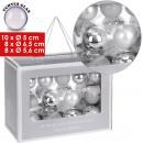 groothandel Glazen: Kerstballen, glas,  26er Set, 3 maten, zilver