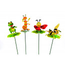 wholesale Baby Toys: Planting plugs  animals on leaf, 4 assorted,