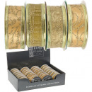 groothandel Stationery & Gifts: Lint, goud, 270 x  2,5 cm, 28er Display ,
