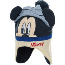 A blue baby hat with a pompom Mick Mouse