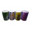 wholesale Saving Boxes: Metal money box ø10 x 15cm Euro design