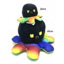 groothandel Poppen & Pluche: Omkeerbare octopus pluche 40cm Z/W/regenboog
