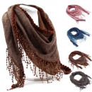wholesale Scarves & Shawls: Shawl with tassels in 4 colors