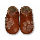 wholesale Shoes: Leather slippers  with soft soles - feet BROWN