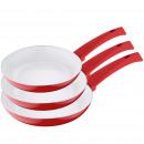 groothandel Open haarden: Set 3-keramisch beklede pannen Blanc
