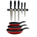 Set of red pans and knife set with