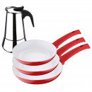 grossiste Cafetiere et percolateur: Bergner - Set  casseroles en rouge et café: r
