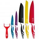 set 5 cuchillos+pelador acero inoxidable - colors