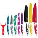set 8cuchillos+pelador acero inoxidable colors swi