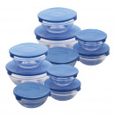 set of 20 pieces tupperware in glass blue cap, c