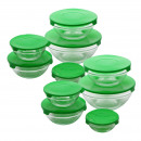 set of 20 pieces tupperware in glass green cover,