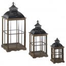nagyker Lámpások: Kereszt lámpás készlet, 3-as készlet, barna