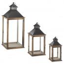 groothandel Windlichten & lantaarns: Lantaarn, set van 3, bruin