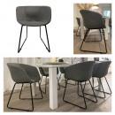 Großhandel Geschäftsausstattung: Stuhl Lounge, gepolstert, grau, mit Armlehne, ca.