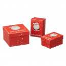Caja Feliz Navidad, roja, 3 piezas, cuadrada