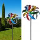 Szélkerék turbina, dupla, színes, kb. 168 cm magas