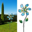 Windrad Blume, blau gelb, ca. 92cm Höhe