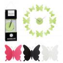grossiste Poupees et peluches: Horloge murale papillon, lot de 12, 4- fois assort