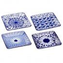 Tányér négyzet alakú, kék-fehér, 4- szer szortíroz
