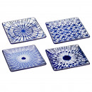 plate square, blue-white, 4- times assorted , gr
