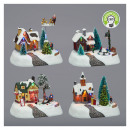 Téli falusi karácsony, LED-del mozgással, 4 fa