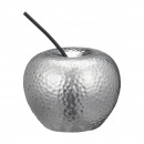 groothandel Woondecoratie: Decoratieve appel, zilver, klein, circa 13 cm hoog