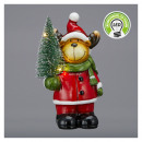 Moose with LED Christmas tree, small, 14cm high