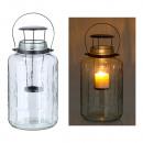 groothandel Kaarsen & standaards: Helder glazen lantaarn, 40cm hoog