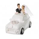 Pénztáros menyasszonyi pár az autóban, kb. 11 cm