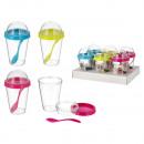 grossiste Mallettes, boites à outils et kits: Bac à yaourt avec cuillère, 3- fois assorti , envi