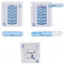 Pillenbox, deluxe, weiß/blau, 7 Tage, ca. 13cm Höh