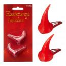 Hair clip, devil horns, 2 parts, approx. 3.5 cm hi