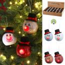 Boule de sapin de Noël LED, bonhomme de neige, 4 f