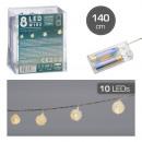 LED fénylánc, spirálgolyó, 8LED, kb. 140cm
