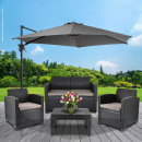 Outdoor seating group, anthracite, 4-part