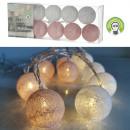 Lumières LED Boule de coton, blanc / rose, 10 LED,