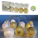 Ledes világítás Pamut golyó, fehér / arany, 10LED,