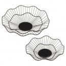 Decorative basket, metal, black, round / wavy, set